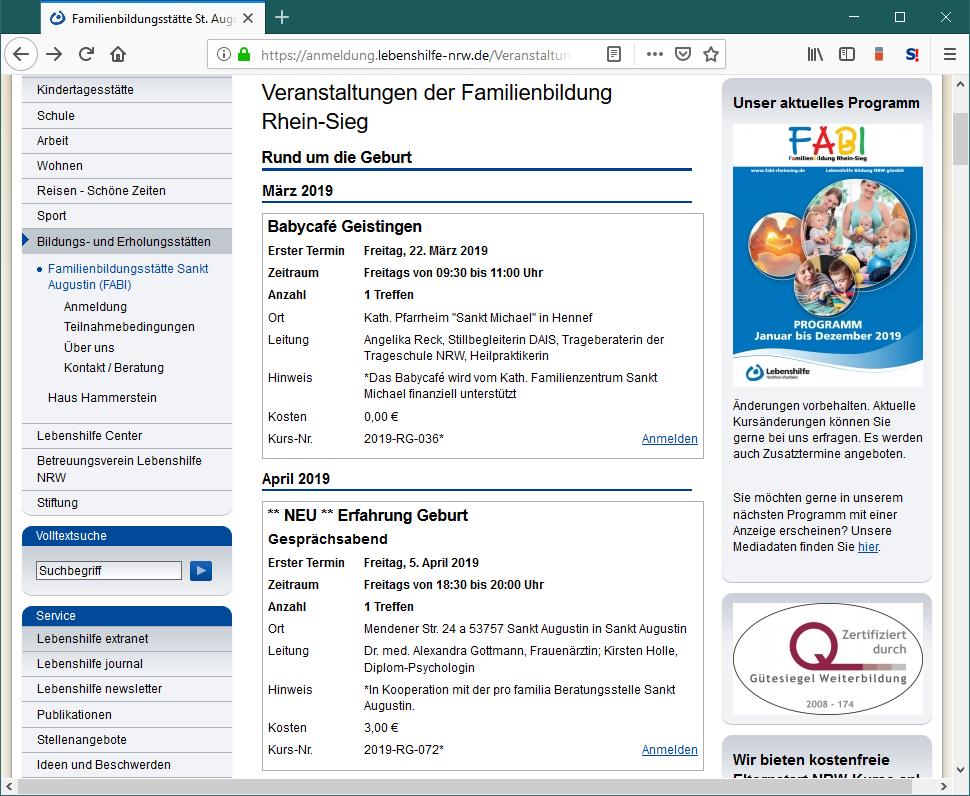 Webseite mit Online-Anmeldungen in der Lebenshilfe Veranstaltungsverwaltung