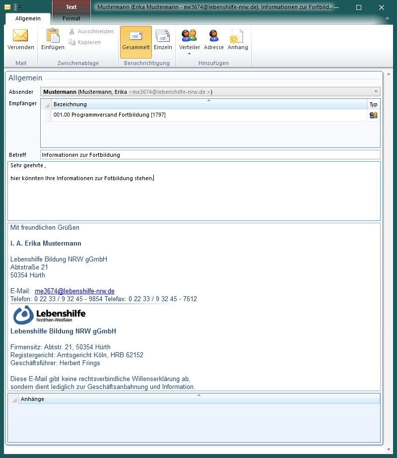 E-Mail in der Lebenshilfe Veranstaltungsverwaltung
